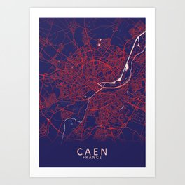 Caen, France, Blue, White, City, Map Art Print