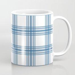 Farmhouse Plaid in Blue on White Coffee Mug