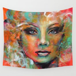 Little Colorgirl Original Painting Wall Tapestry