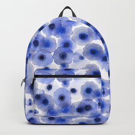 Blue watercolor anemone pattern Backpack
