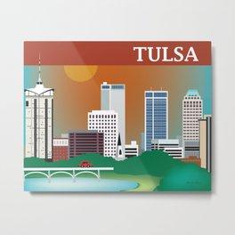 Tulsa, Oklahoma - Skyline Illustration by Loose Petals Metal Print