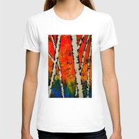 birch T-shirts featuring Orange Birch  by BeachStudio