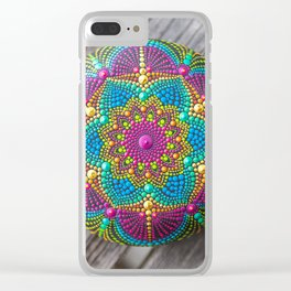 Hand painted mandala stone Clear iPhone Case