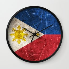 Vintage Aged and Scratched Filipino Flag Wall Clock
