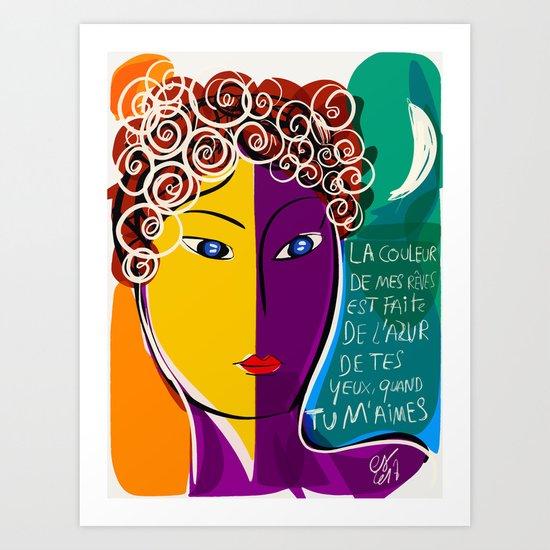La couleur de mes rêves Pop Art Portrait Art Print