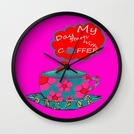 My Day Starts With Coffee - Pink Wall Clock