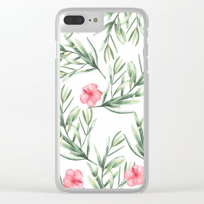 Delicate Hibiscus Clear iPhone Case