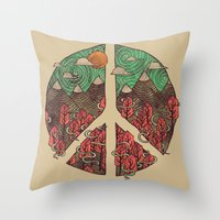landscape Throw Pillows featuring Peaceful Landscape by Hector Mansilla