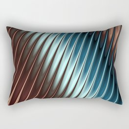 Stripey Pins Teal & Taupe - Fractal Art Rectangular Pillow