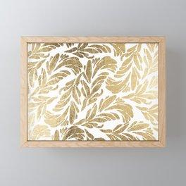 Elegant white chic faux gold foil floral damask pattern Framed Mini Art Print