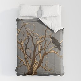 RAVEN ON DEAD TREE GREY ART Comforters