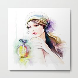 Watercolor Girl V4 Metal Print