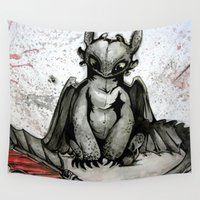 toothless Wall Tapestries featuring Toothless by artbyteesa