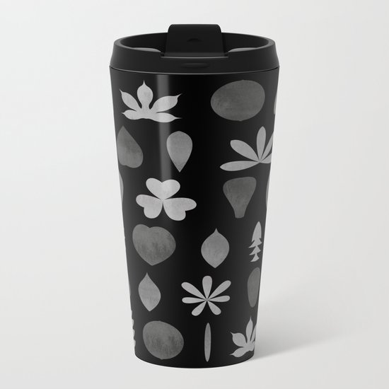 Leaf Shapes and Arrangements Pattern Greyscale Metal Travel Mug