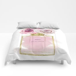 Pink & Gold Floral Fashion Perfume Bottle Comforters