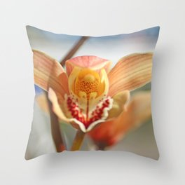orchid flower ready to fly Throw Pillow