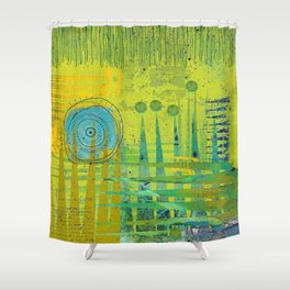 Blue Green Abstract Art Collage Shower Curtain