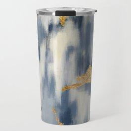 Blue and Gold Ikat Pattern Abstract Travel Mug