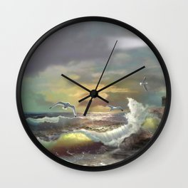 Michigan Lighthouse with an Angry Sea Wall Clock