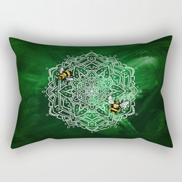 Bee Dance Mandala A - Textured Green Rectangular Pillow