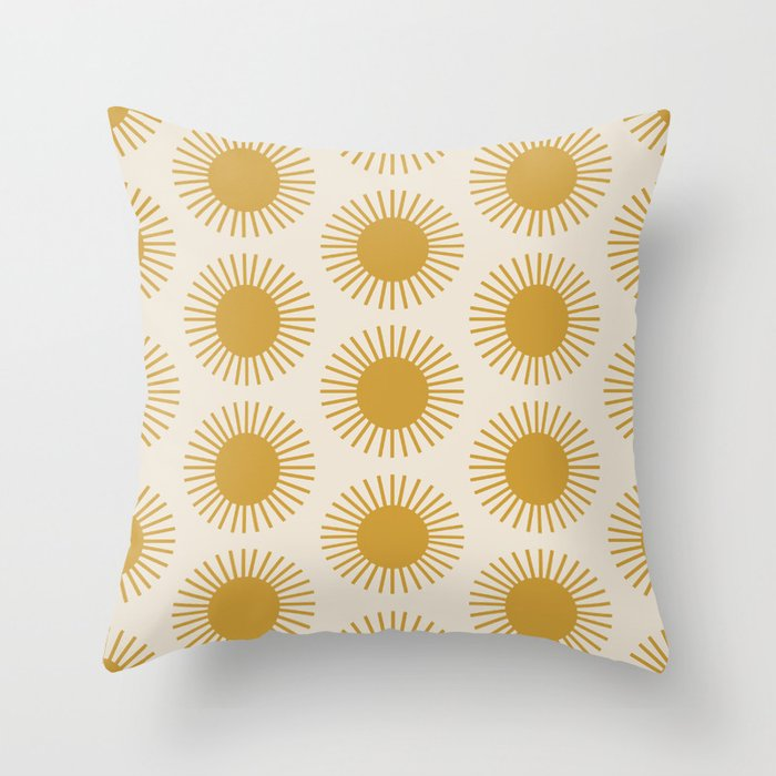Golden Sun Pattern Throw Pillow