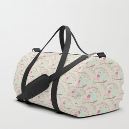 Pink teal gren love birds my valentine romantic floral Duffle Bag