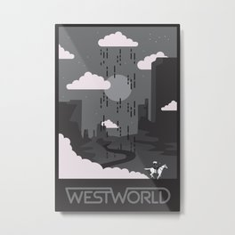 Westworld Pale Rider Black & White Variant Metal Print