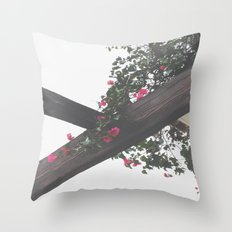 Wooden & Flowers Throw Pillow
