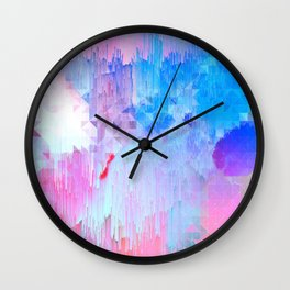 Abstract Candy Glitch - Pink, Blue and Ultra violet #abstractart #glitch Wall Clock