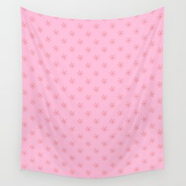 Coral Pink on Cotton Candy Pink Snowflakes Wall Tapestry