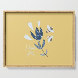 Amusing bees and flower Serving Tray