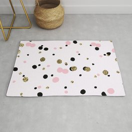 Pink Black Gold Party Dots Rug