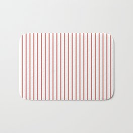Camellia Pink Pinstripe on White Bath Mat