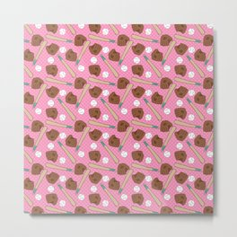 Girl baseball pattern on a pink background Metal Print