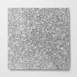 Silver Gray Glitter Metal Print