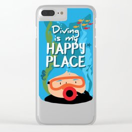 Diving is my happy place Clear iPhone Case