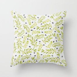 Watercolor Olive Branches Pattern Throw Pillow