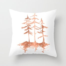 Three Sisters Trees Rose Gold on White Throw Pillow