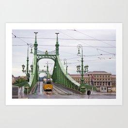 Yellow Tram in Budapest Art Print