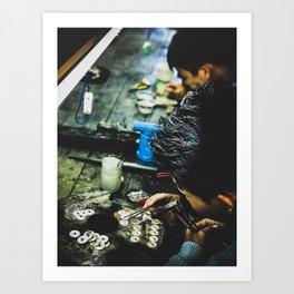 Steward of silver in Myanmar Art Print