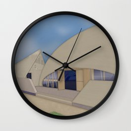 Building Of The Future From A Forgotten Past Wall Clock