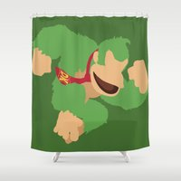 donkey kong Shower Curtains featuring Donkey Kong(Smash)Green by ejgomez