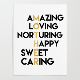 DEAR MOTHER Mothers Day quote Poster