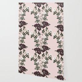 Bees + Blackberries on Pale Pink Wallpaper