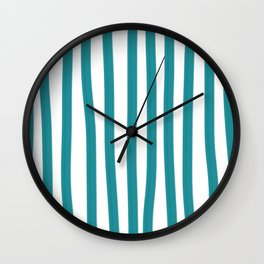 Teal and White Vertical Stripes Wall Clock