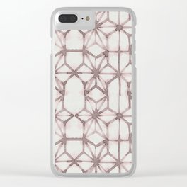 Simply Shibori Stars in Red Earth on Lunar Gray Clear iPhone Case