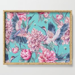 Watercolor crane and blooming peonies Serving Tray