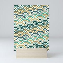 Japanese Seigaiha Wave – Mint & Gold Mini Art Print