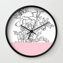 VESSEL - Floral Ink in Pink - Cooper and Colleen Wall Clock