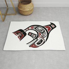 Pacific Orca design whale Northwest blackfish art formline black red Rug